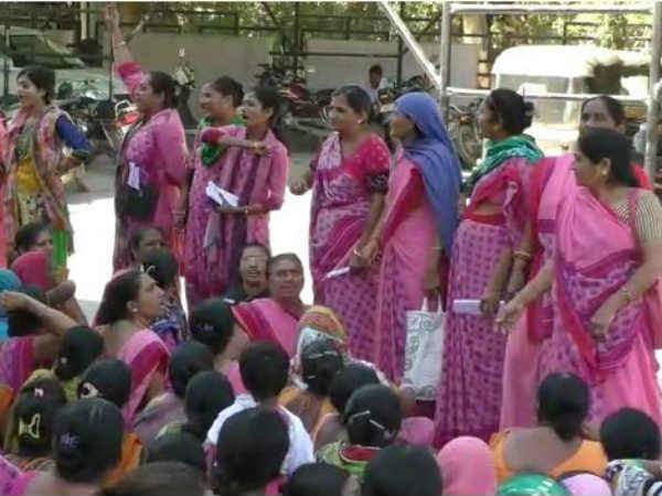 Anganwadi workers in front of the collector's office in Ahmedabad. Credit: Damayantee Dhar