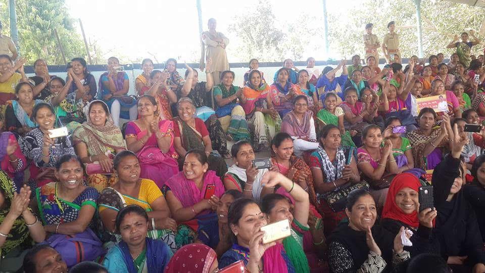 Asha and anganwadi workers detained at police headquarters, Shahibaug. Credit: Damayantee Dhar