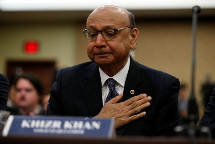Gold-Star father Khizr Khan, father of US Army Captain Humayun Khan who was killed in 2004 in Iraq, puts his hand to his heart as he takes part in a discussion panel on the Muslim and refugee ban in the US Capitol in Washington February 2, 2017. Credit: Kevin Lamarque/Reuters
