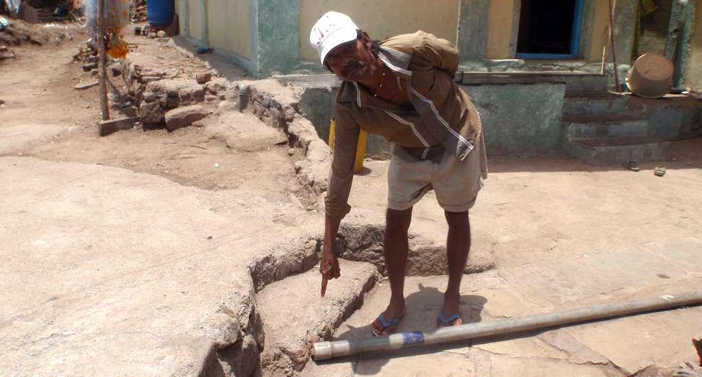 A pipeline to carry water lies unused in a village on Elephanta island. Credit: Gajanan Khergamker