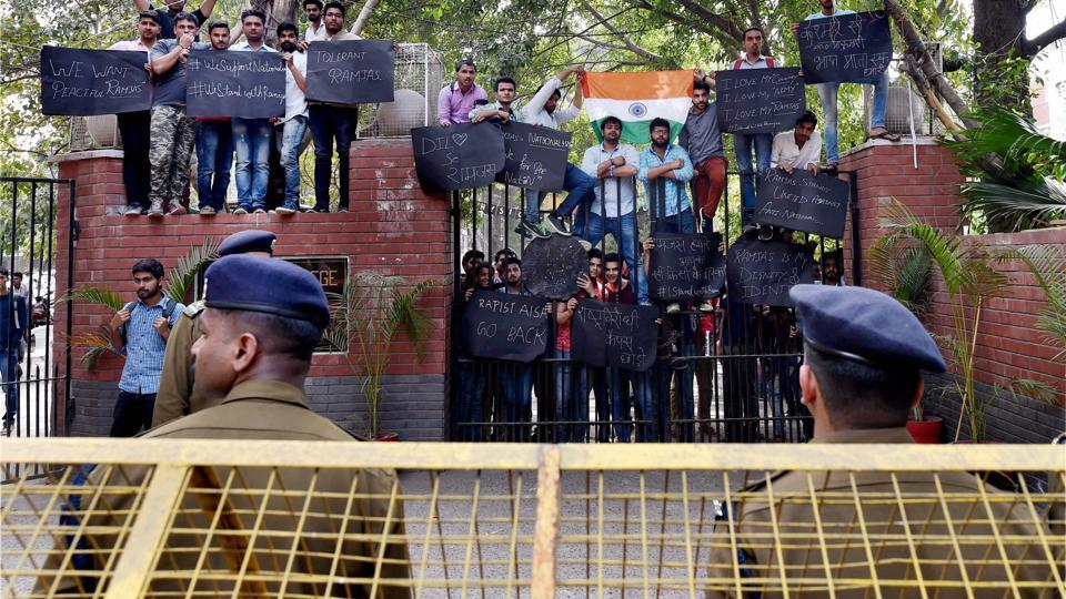 Students of Ramjas College during their protest march against ABVP violence at North Campus in New Delhi on February 28. Credit: PTI