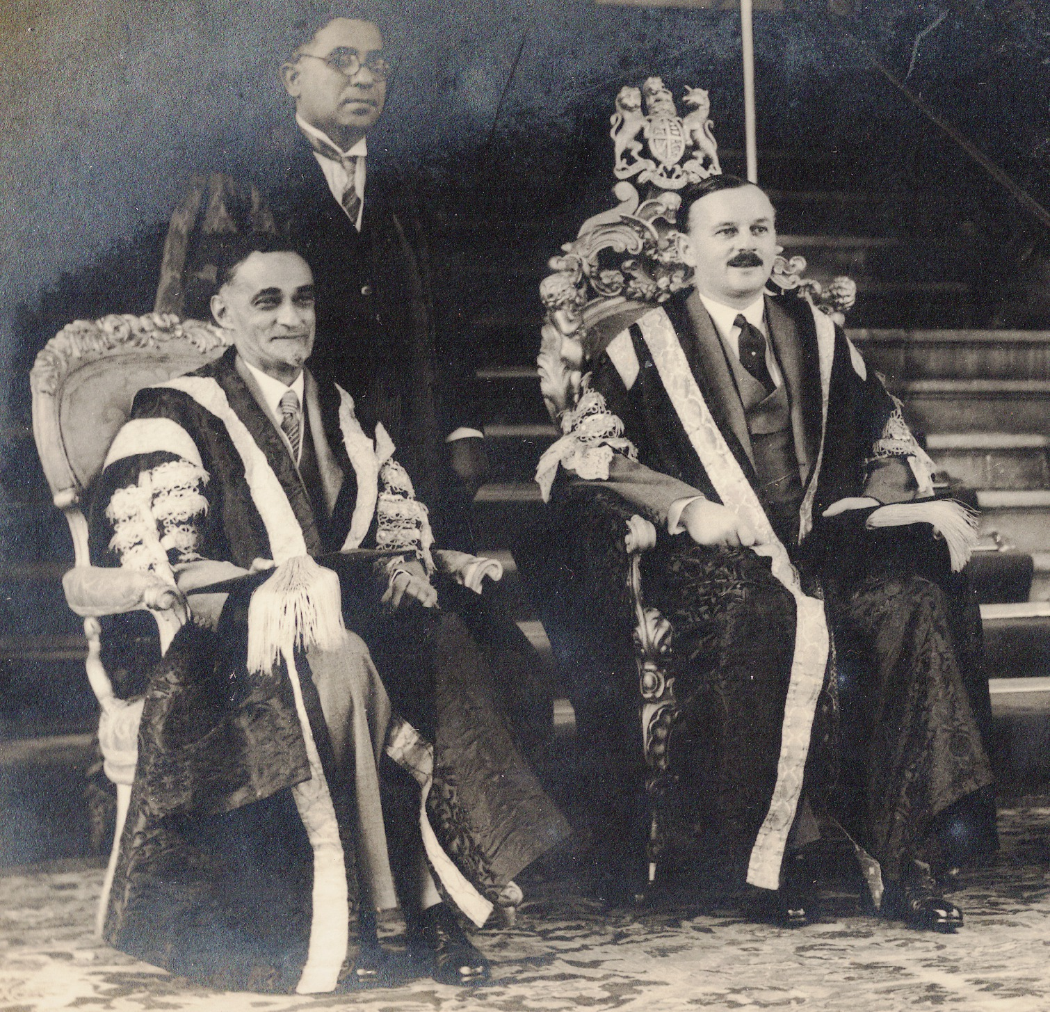 The author's grandfather Sir Rustam Masani, Vice-Chancellor of Bombay University, sitting extreme left/ Credit: Zareer Masani