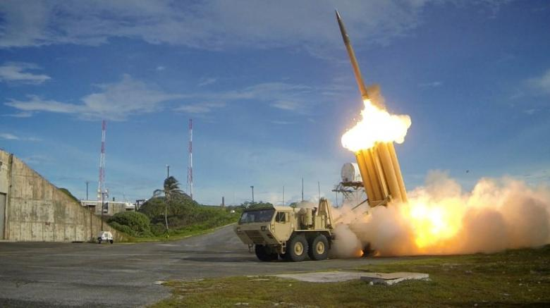 A Terminal High Altitude Area Defense (THAAD) interceptor is launched during a successful intercept test, in this undated handout photo provided by the US Department of Defence, Missile Defence Agency.  Credit: Reuters