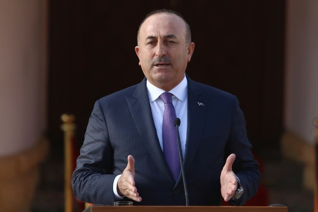 Turkey's foreign minister Mevlut Cavusoglu speaks to the media during a visit in Nicosia, northern Cyprus, February 21, 2017. Credit: Reuters