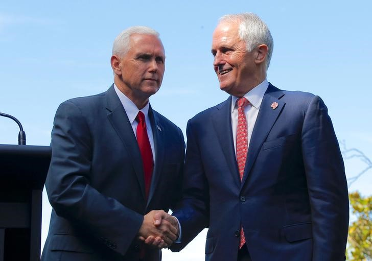 U.S. Vice President Mike Pence shakes hands with Australia's Prime Minister Malcolm Turnbull after a media conference at Admiralty House in Sydney Australia