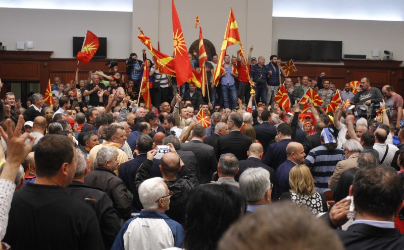 Macedonia: Protesters Storm Parliament After Albanian Elected as Speaker