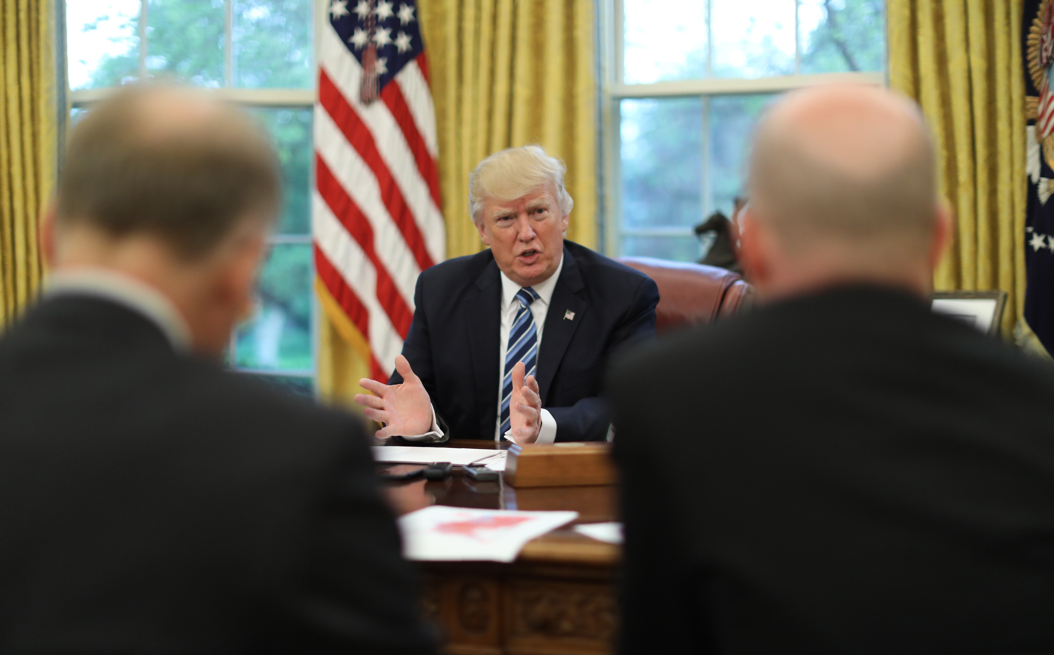 US President Donald Trump speaks during an interview with Reuters in the Oval Office of the White House in Washington, US, April 27, 2017. Credit: Reuters/Carlos Barria