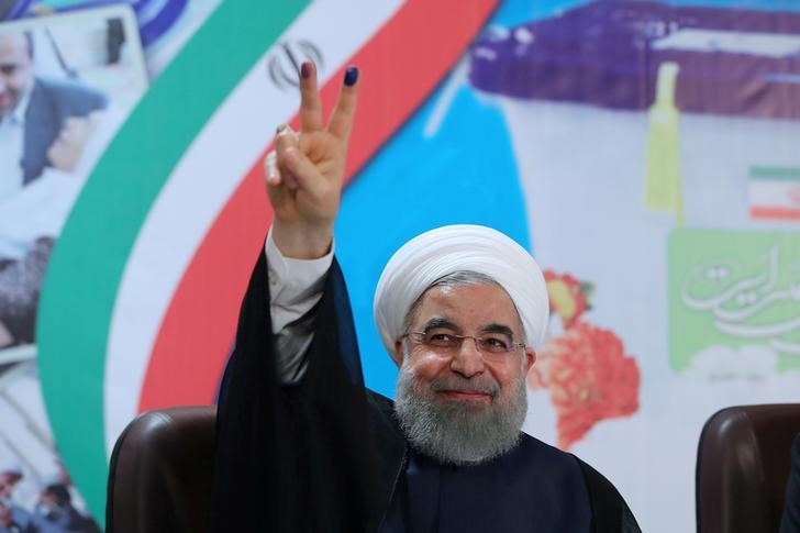 Iran's President Hassan Rouhani gestures as he registers to run for a second four-year term in the May election, in Tehran, Iran, April 14, 2017. President. Credit: ir/Handout via Reuters/File Photo