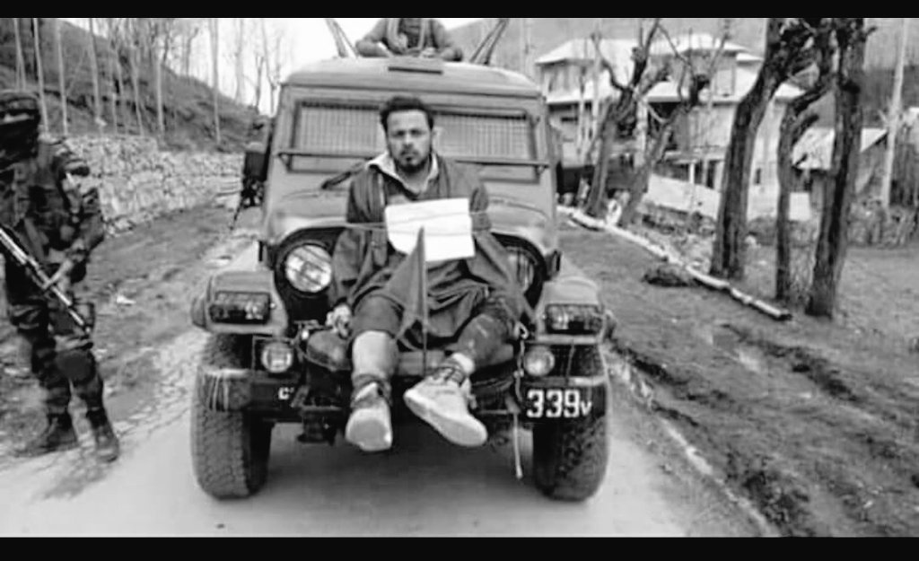 Farooq Ahmed Dar was strapped to the front of a jeep carrying soldiers in Beerwah, Jammu and Kashmir. Credit: Twitter