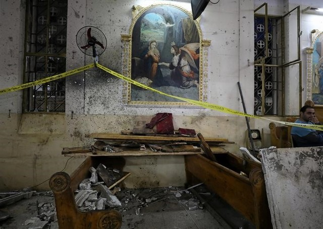 The aftermath of an explosion that took place at a Coptic church on Sunday in Tanta, Egypt, April 9, 2017. Credit: Reuters