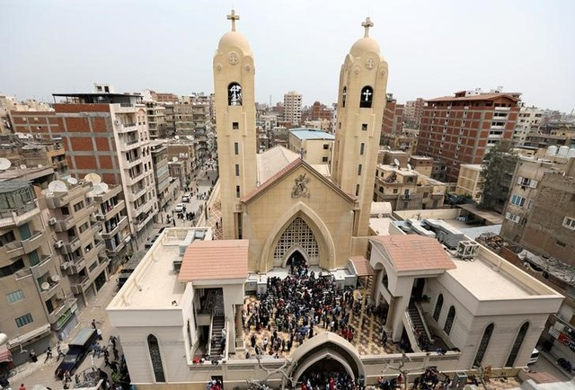 A general view is seen as Egyptians gather by a Coptic church that was bombed on Sunday in Tanta, Egypt, April 9, 2017. Credit: Reuters