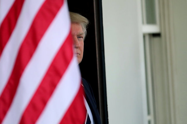 US President Donald Trump waits for the arrival of Egypt's President Abdel Fattah al-Sisi at the White House in Washington, US, April 3, 2017. Credit: Reuters/Carlos Barria/Files