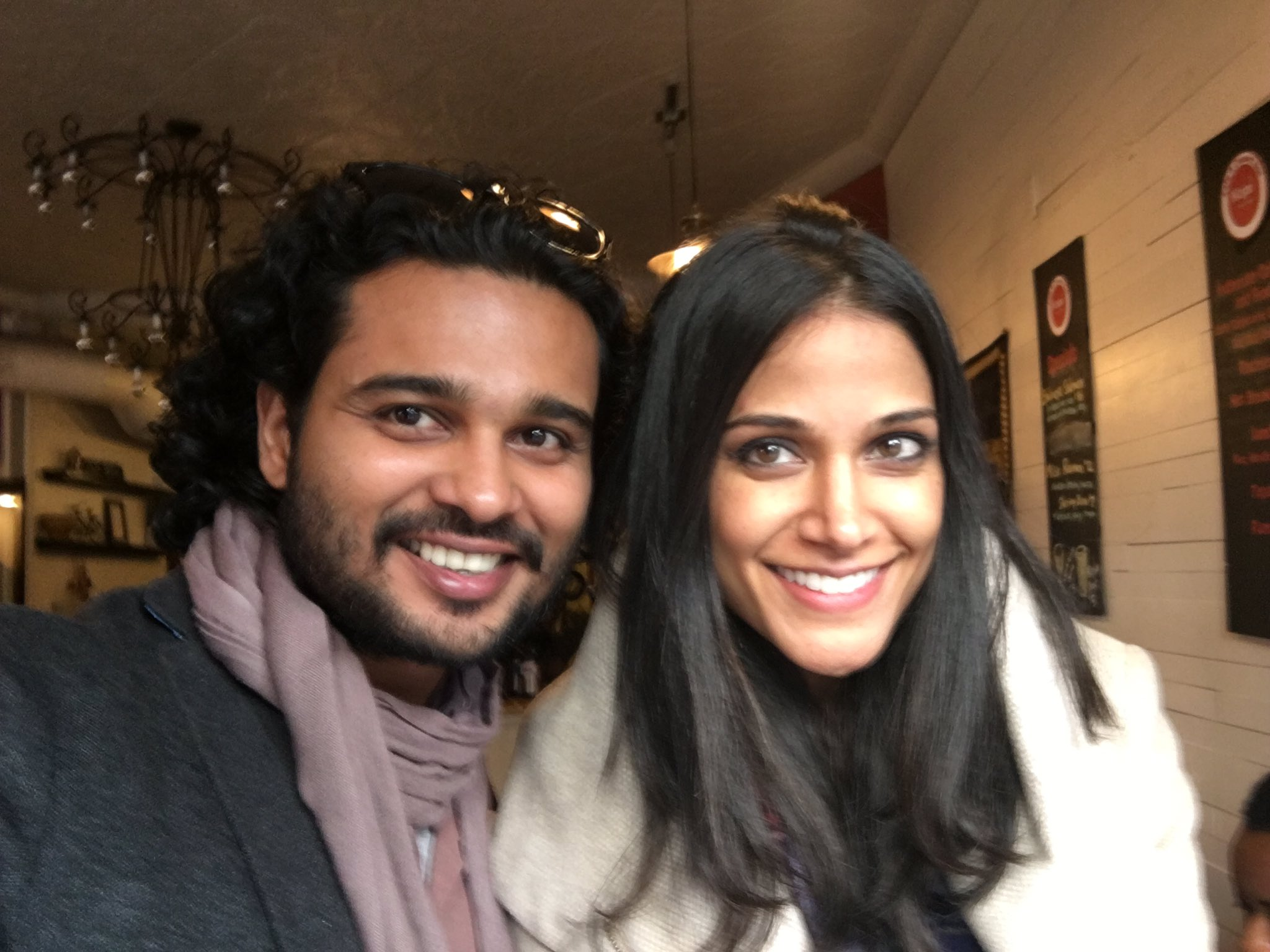 Writer-producer of For Here or to Go Rishi Bhilawadikar with film's lead actress Melanie Chandra.