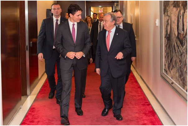 Inner sanctum: António Guterres and Justin Trudeau, Canada's prime minister, on April 6 in the UN's secretariat, New York. Credit: MARK GARTEN/UN PHOTO