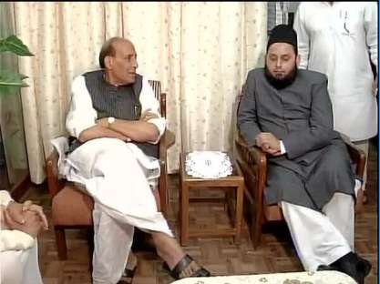 Home minister Rajnath Singh with Maulana Khalid Rasheed. Credit: PTI