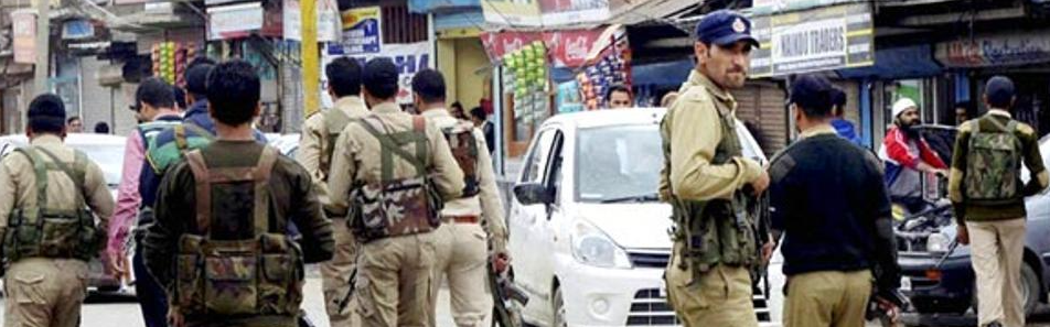 Representative image of police personnel in Kashmir. Credit: PTI