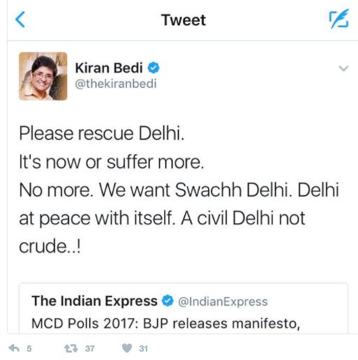 Screenshot of the controversial tweet that Puducherry LG Kiran Bedi tweeted