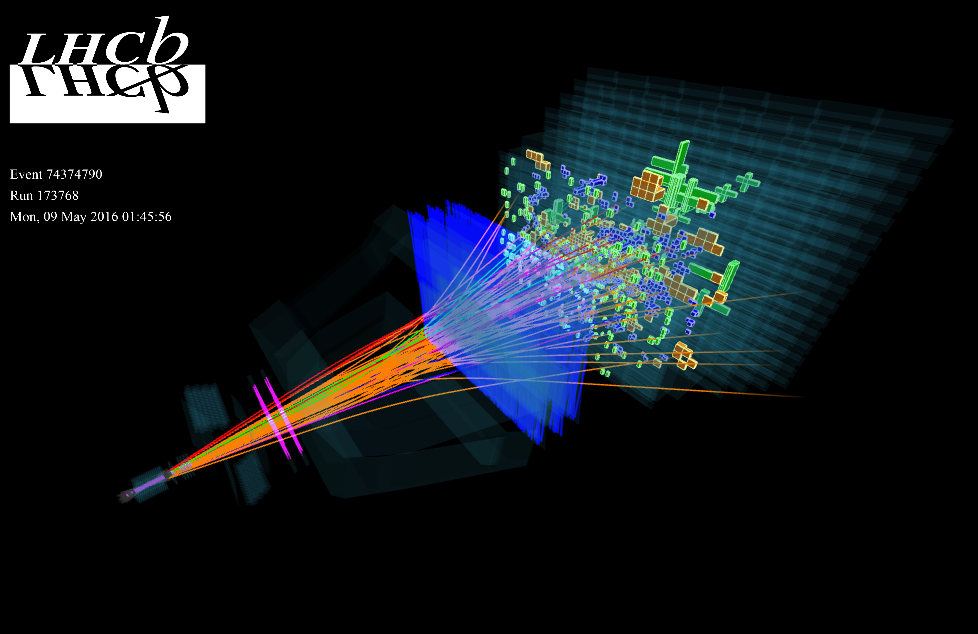 A typical LHCb event fully reconstructed during data taking on May 9, 2016. Caption and credit: CERN