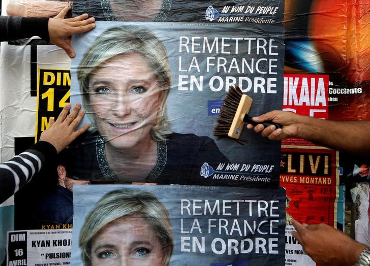 Members of the French National Front (FN) political party paste a poster on a free billboard for the French National Front political party leader Marine Le Pen in Antibes, France, April 14, 2017. Credit: Reuters/Eric Gaillard/Files