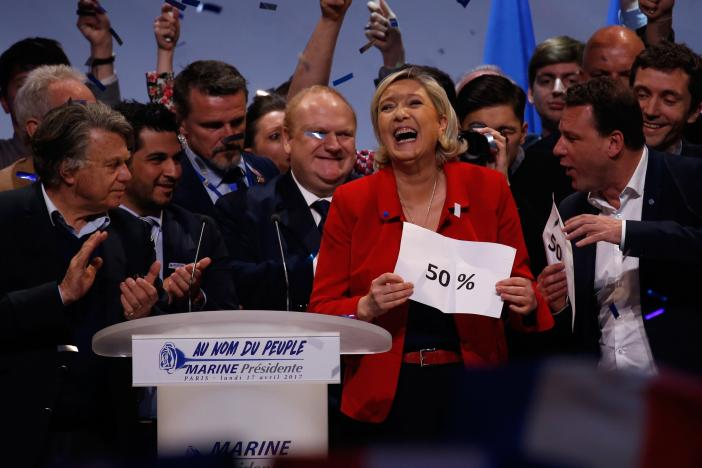 Marine Le Pen, French National Front (FN) political party leader and candidate for French 2017 presidential election, reacts a the end of her campaign rally in Paris, France, April 17, 2017. REUTERS/Pascal Rossignol