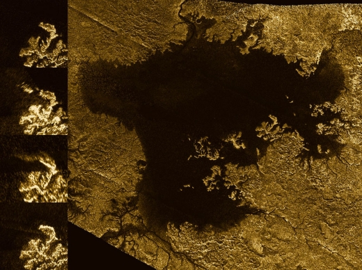 Multiple Cassini flybys over Titan have thrown up some transient features around the moon's Ligeia Mare lake (see left panels). Credit: NASA/JPL