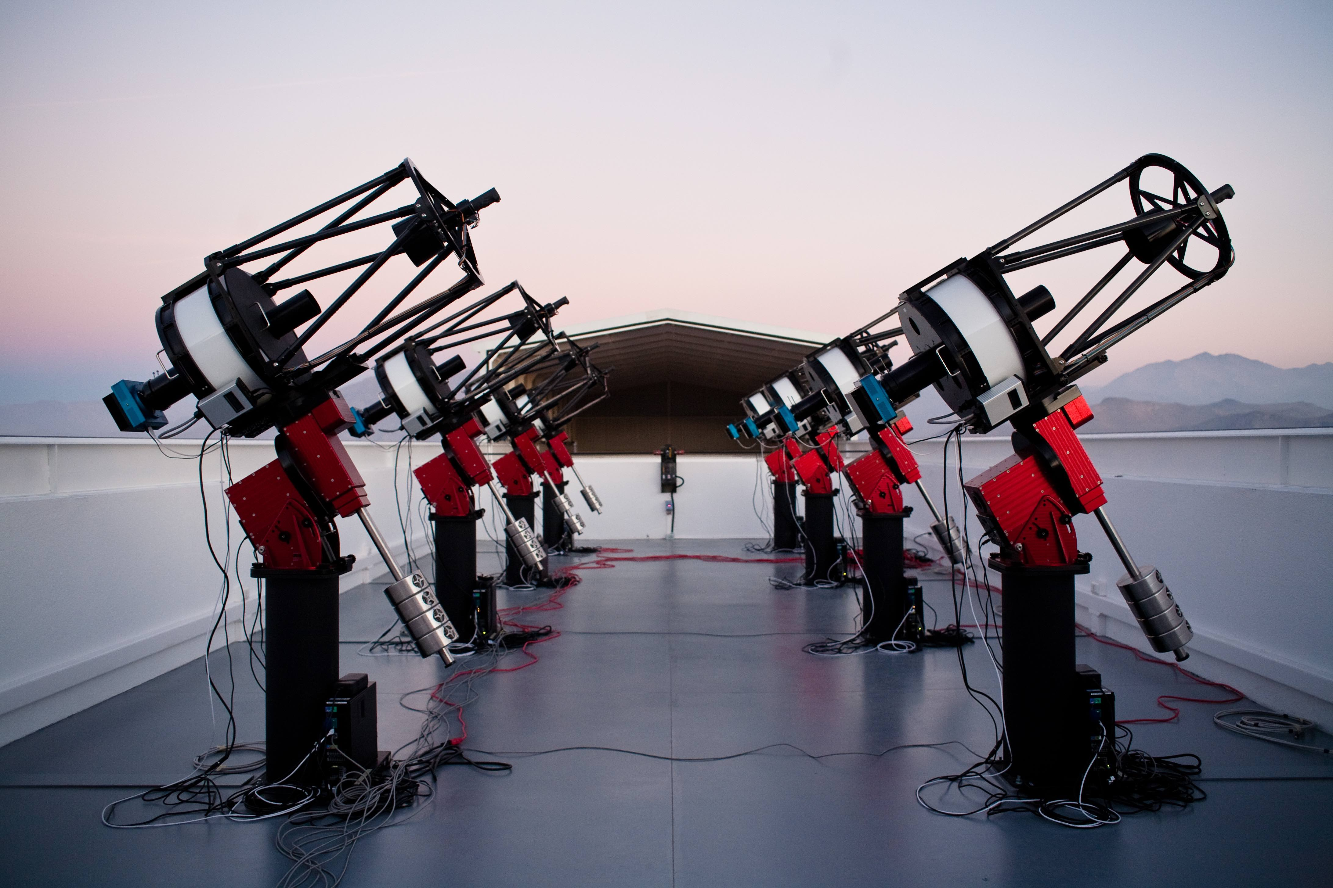 The MEarth-South telescope array, located on Cerro Tololo in Chile, searches for planets by monitoring the brightness of nearby, small stars. Caption and credit: Jonathan Irwin