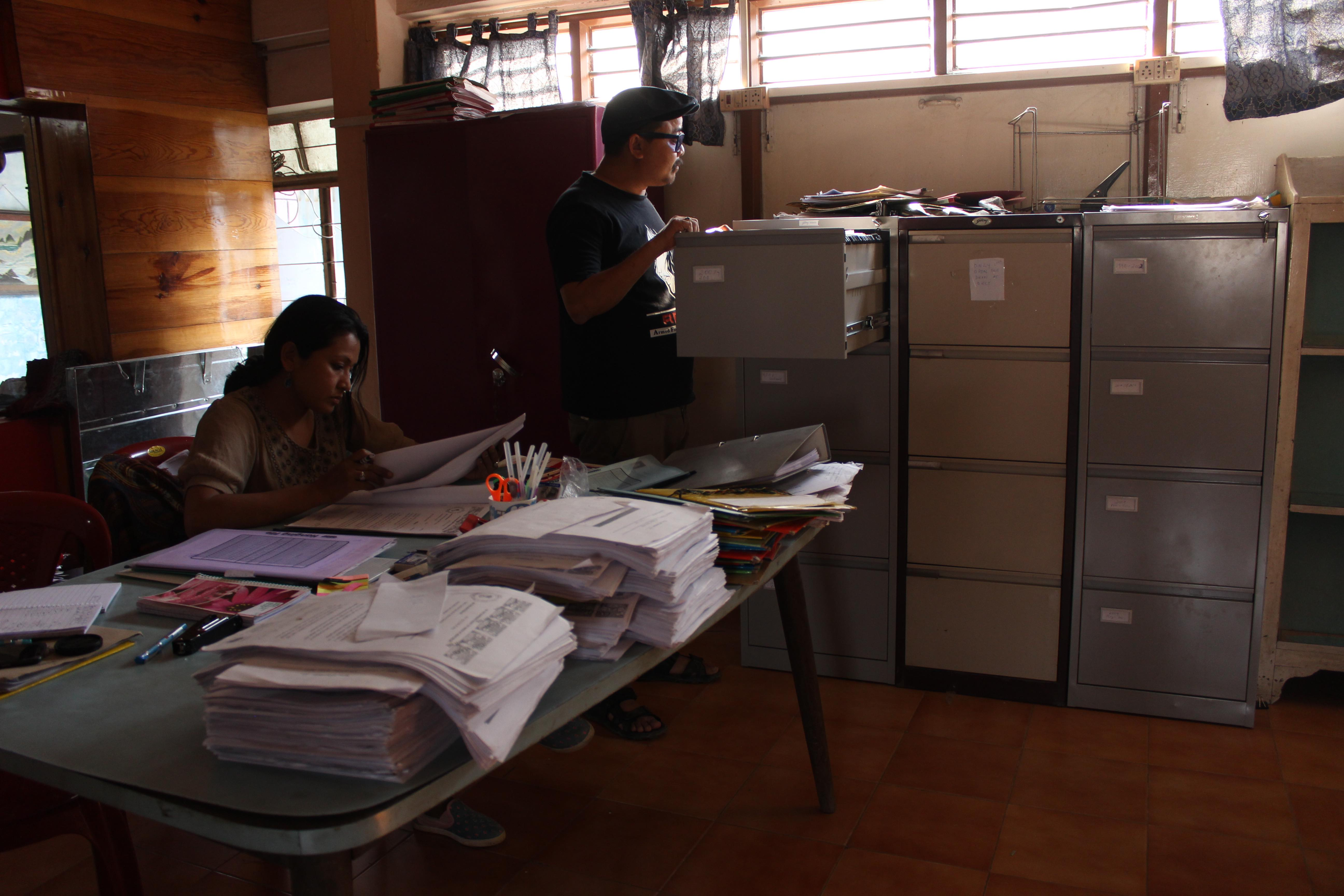 Filing cabinets of documents relating to 1,528 cases of alleged fake encounters, at the EEVFAM office in Imphal. Credit: Anoo Bhuyan