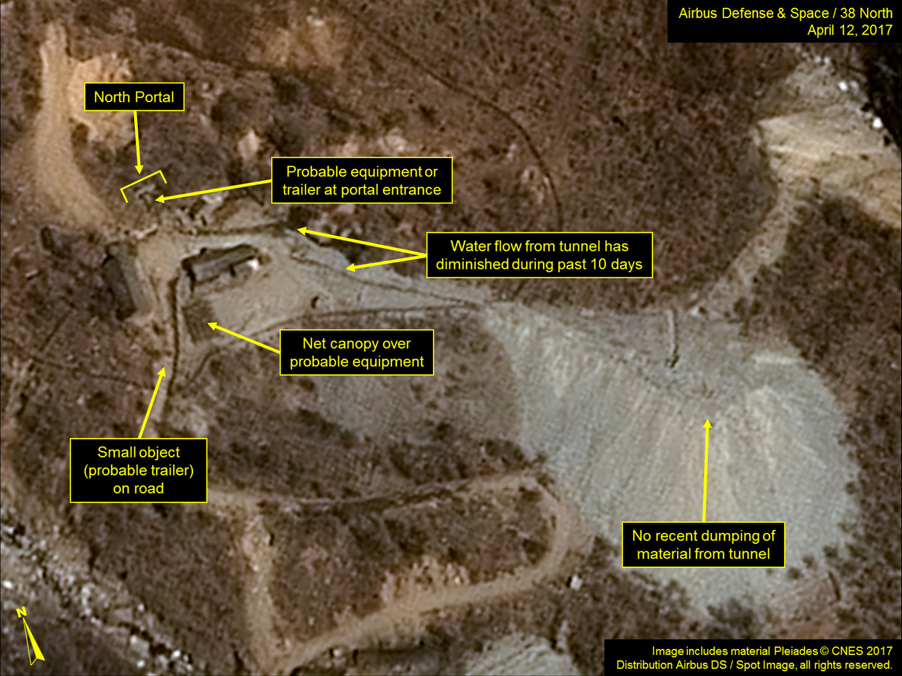 North Korea's Punggye-ri Nuclear Test Site is seen in commercial satellite imagery taken April 12, 2017. Image includes material Pleiades (c) CNES 2017. Distribution Airbus DS/Spot Image, all rights reserved. Credit: Airbus Defense & Space and 38 North/Handout via Reuters