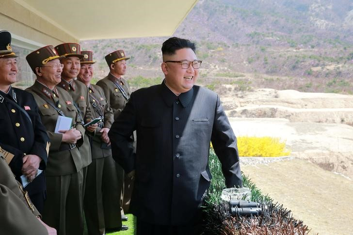 North Korean Leader Kim Jong Un observes a target-striking contest by the Korean People's Army (KPA) in this undated photo, released by North Korea's Korean Central News Agency (KCNA), April 13, 2017. Credit: Reuters/KCNA/Files