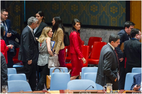 Nikki Haley, the American ambassador to the UN, in red, at the April 7 Security Council meeting reacting to the chemical-weapons attack in Syria. Credit: RICK BAJORNAS/UN PHOTO