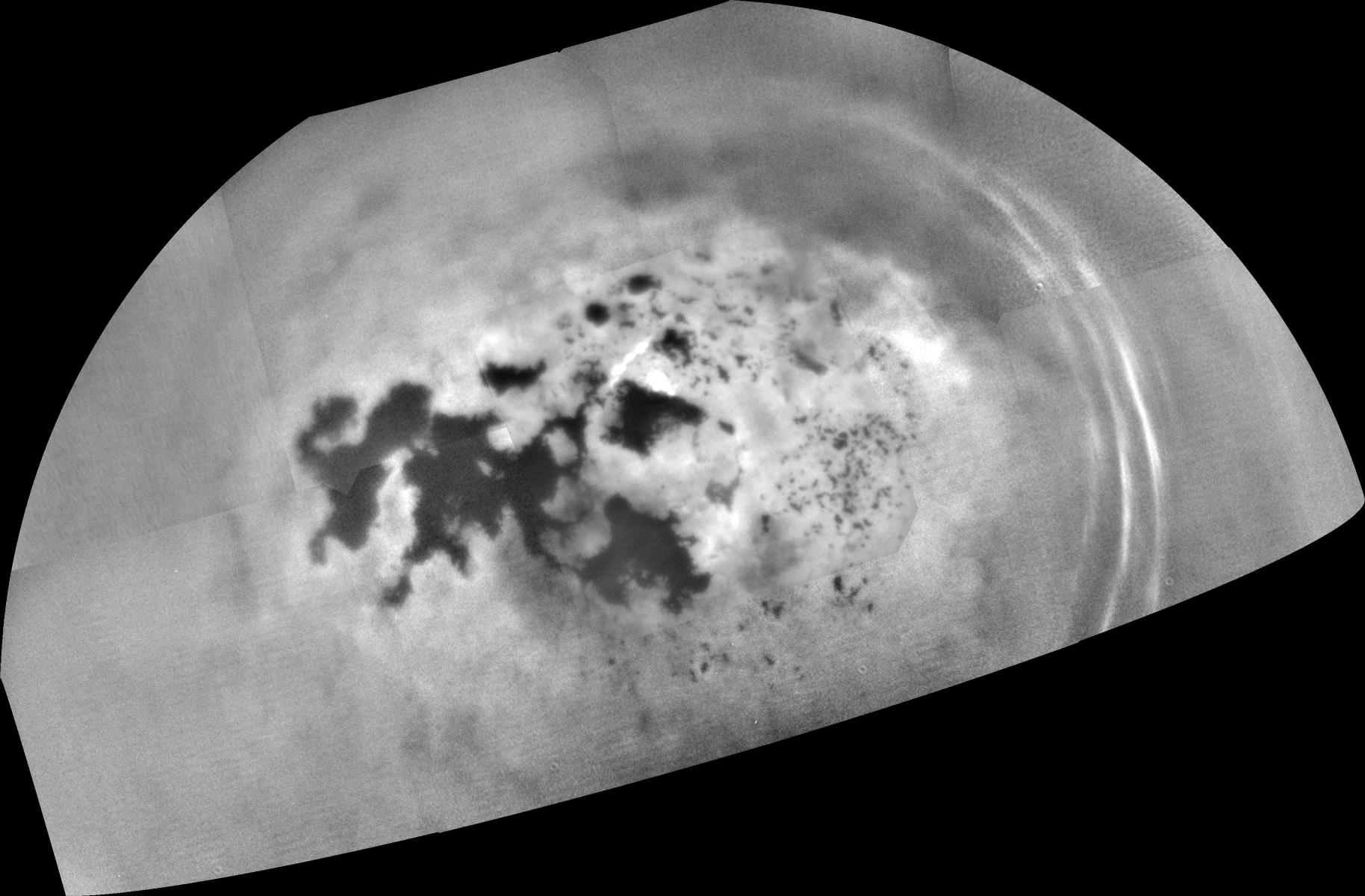 A shot by Cassini of the lakes Kraken Mare and Ligeia Mare near Titan's north pole. Credit: NASA