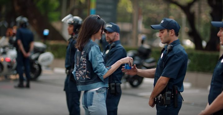 Kendall Jenner in a still from the Pepsi ad. Credit: Youtube screenshot