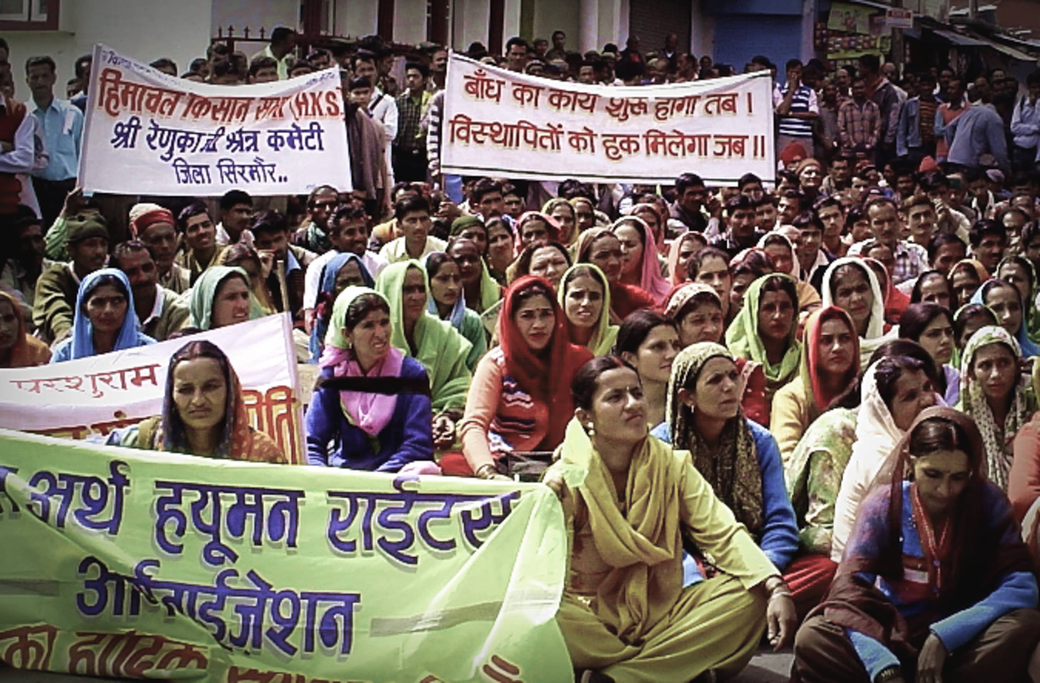 A protest by locals and members of environmental organisations in Renuka Valley, September 2010. Credit: Sumit Mahar