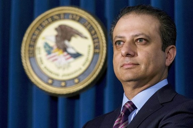 Former Manhattan US Attorney Preet Bharara attends a news conference at his office in New York October 29, 2015. Credit: Reuters/Brendan McDermid/File PhotoFormer Manhattan US Attorney Preet Bharara attends a news conference at his office in New York October 29, 2015. Credit: Reuters/Brendan McDermid/File Photo