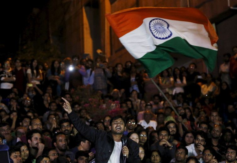JNU student union leader Kanhaiya Kumar speaks on campus after he is released on bail on March 3 2016. Credit: Adnan Abidi/Reuters