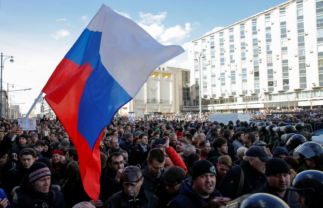 Protestors in Moscow on March 26. Credit: Reuters