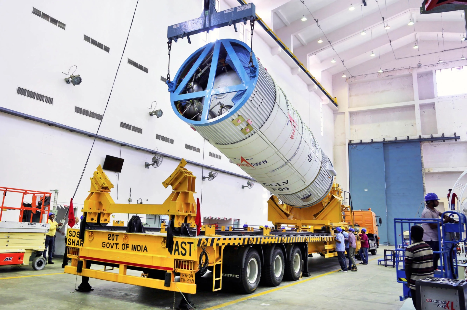 The second stage of the GSLV F09 during vehicle integration. The rocket will place the South Asia Satellite in a geosynchronous orbit at 48º E. Credit: ISRO
