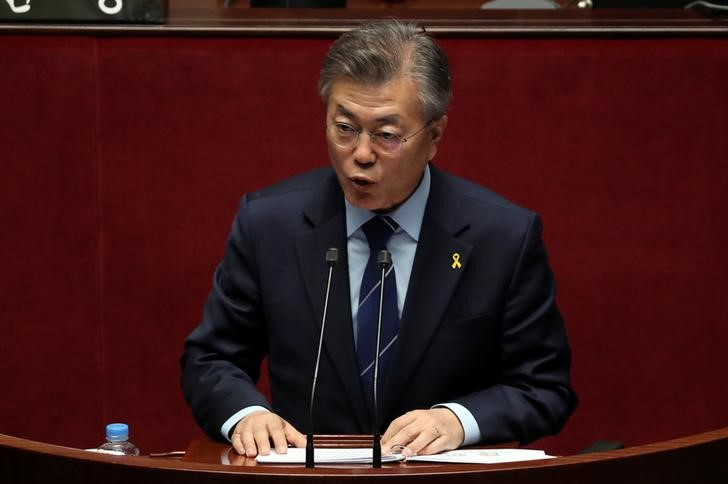 South Korea's Presidential candidate Moon Jae-in from Democratic Party speaks during a plenary session of the special committee for constitution revision at National Assembly in Seoul, South Korea April 12, 2017. Credit: Reuters/Lee Jin-man/Pool/Files