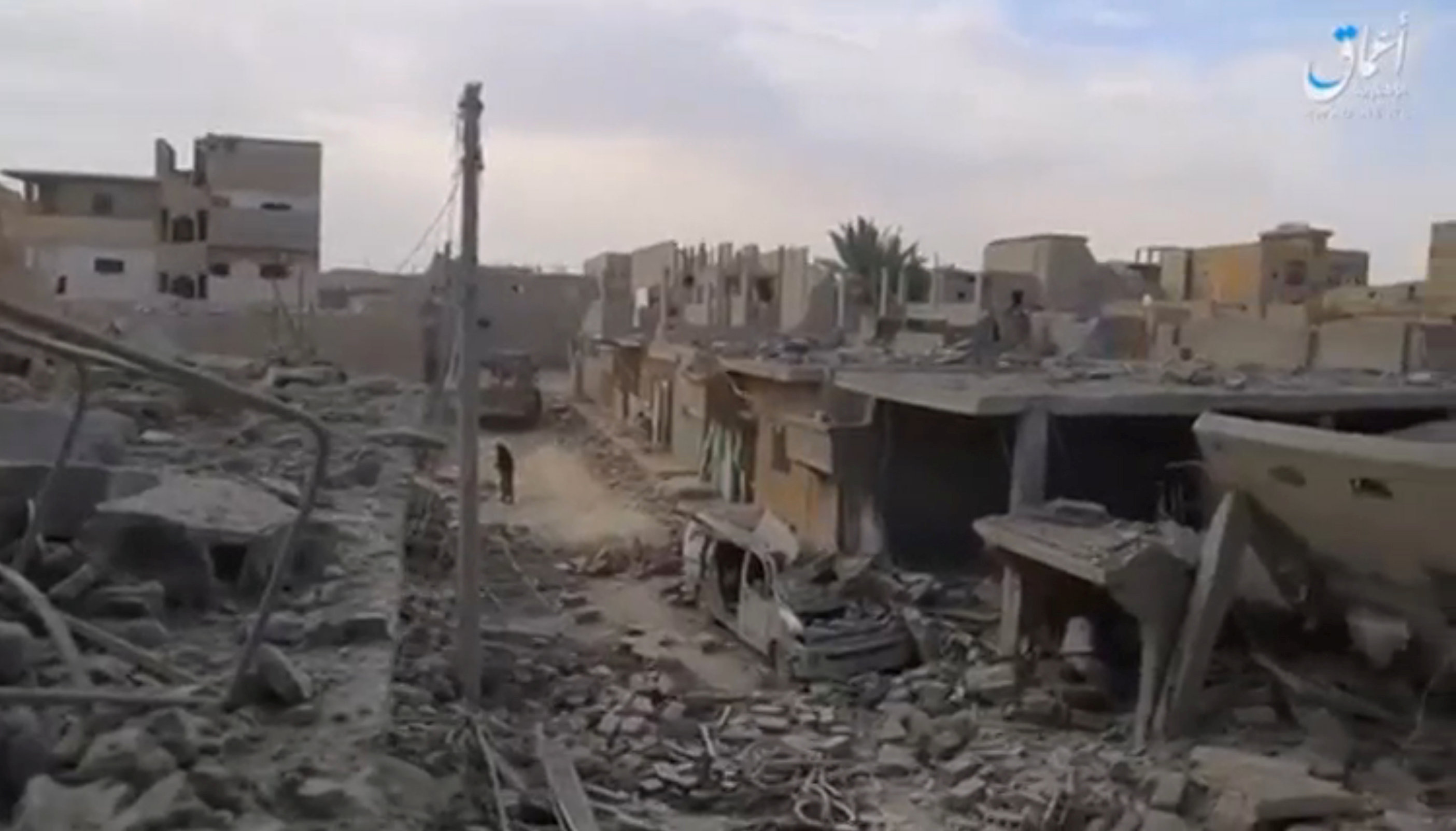 Houses were flattened in the alleged US-led military coalition air strike on the province. Credit: Social media website via Reuters