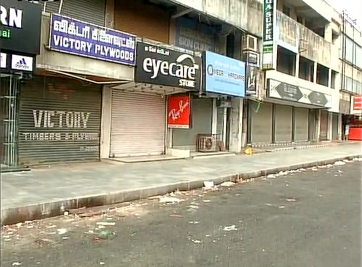 Stores in Chennai closed because of the Tamil Nadu bandh. Credit: ANI/Twitter