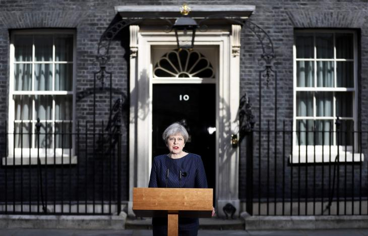 Britain's Prime Minister Theresa May speaks to the media outside 10 Downing Street, in central London, Britain April 18, 2017. Credit: Reuters/Stefan Wermuth