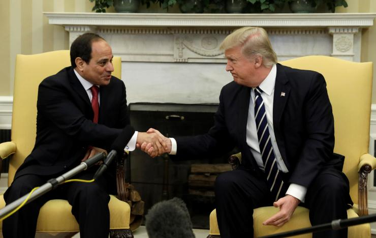 US President Donald Trump meets Egyptian President Abdel Fattah al-Sisi in the Oval Office of the White House in Washington, US, April 3, 2017. Credit: Reuters