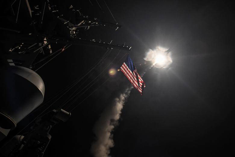 US navy guided-missile destroyer USS Porter conducts strike operations against Syria in the Mediterranean Sea. Credit: Ford Williams/Courtesy US Navy