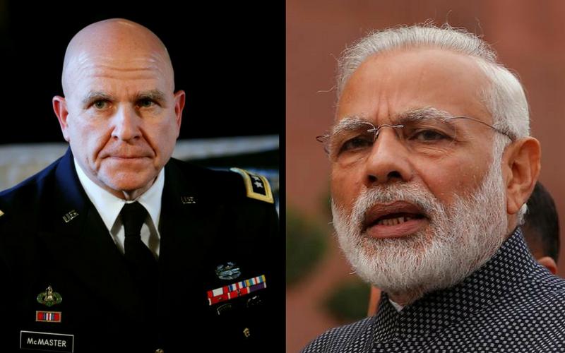 US National Security Advisor Lieutenant General H.R. McMaster and Prime Minister Narendra Modi. Credit: Reuters/Files