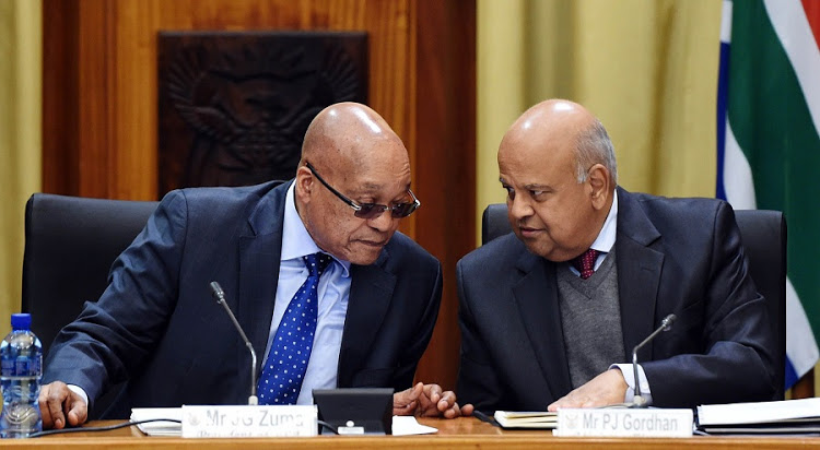 File photo of President Jacob Zuma and for finance minister Pravin Gordhan. Credit: Reuters