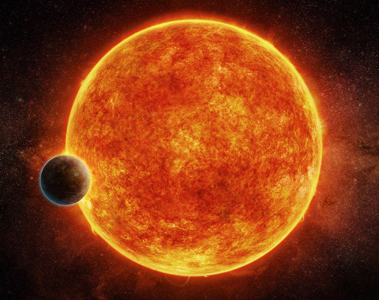 An artist's impression of the newly discovered rocky exoplanet, LHS 1140b. Credit: M. Weiss/CfA