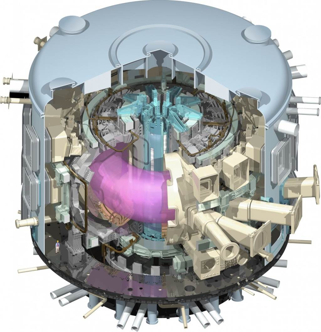 The ITER tokamak will be used to generate and sustain a plasma (the pink tubular entity) for nuclear fusion. Notice the image of a man on the bottom-left for scale. Credit: US ITER