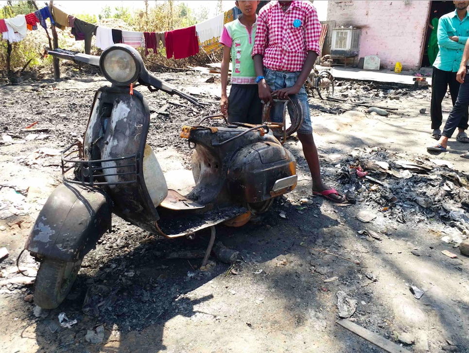 The site of the arson attack on Rohingya refugee dwellings. Credit: Syed Junaid Hashmi