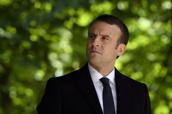 French President elect Emmanuel Macron attends a ceremony to mark the anniversary of the abolition of slavery and to pay tribute to the victims of the slave trade at the Jardins du Luxembourg in Paris, France, May 10, 2017. Credit: Reuters/Eric Feferberg/Pool