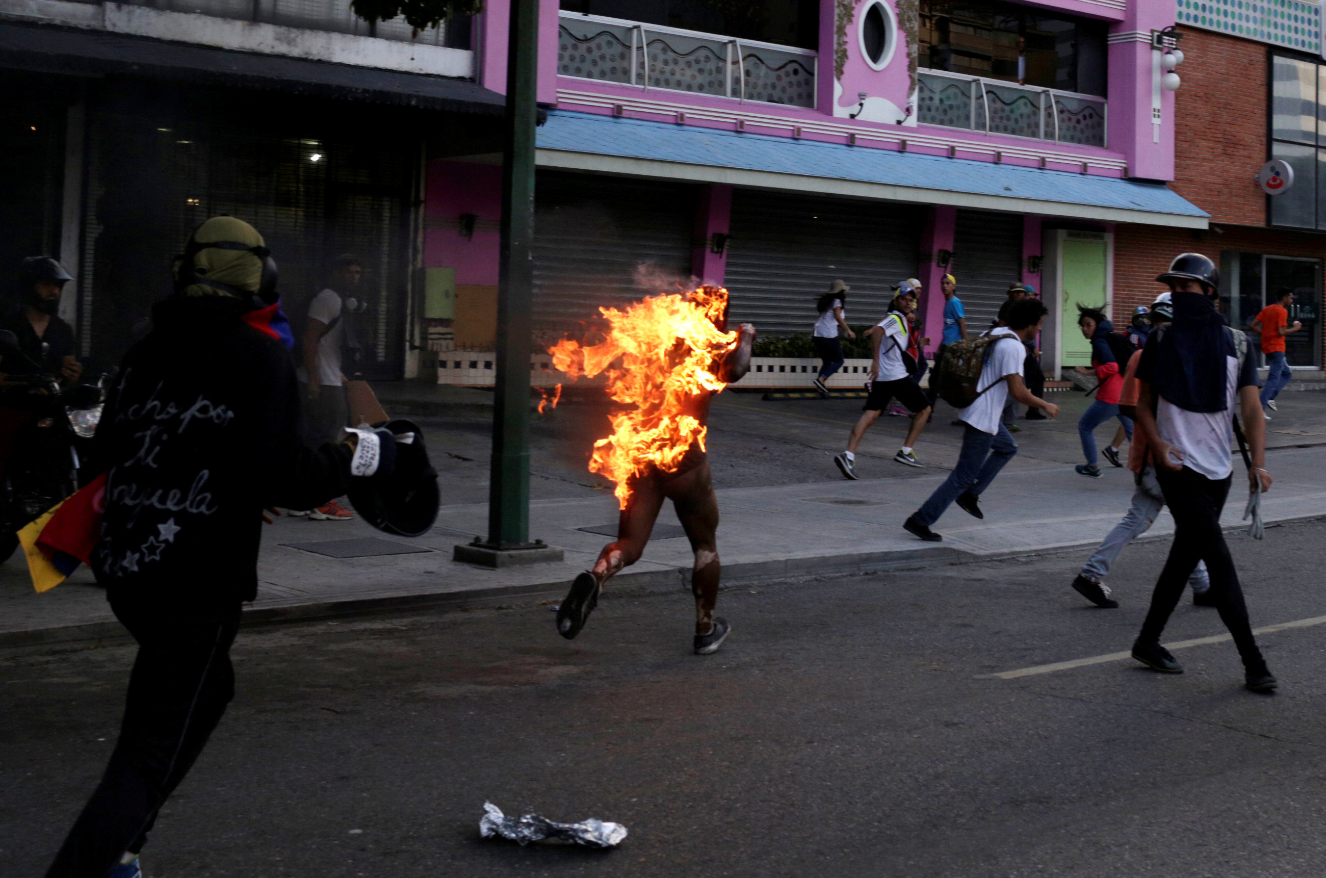 Man Set on Fire During Anti-Government Protests in Venezuela
